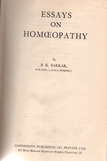 Essays on homoeopathy