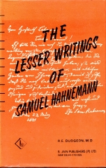the lesser writings of samuel hahnemann
